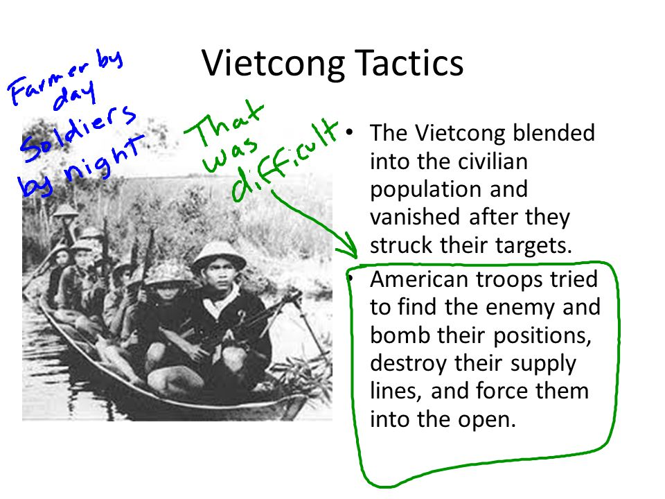 Vietcong Tactics The Vietcong blended into the civilian population and vanished after they struck their targets.