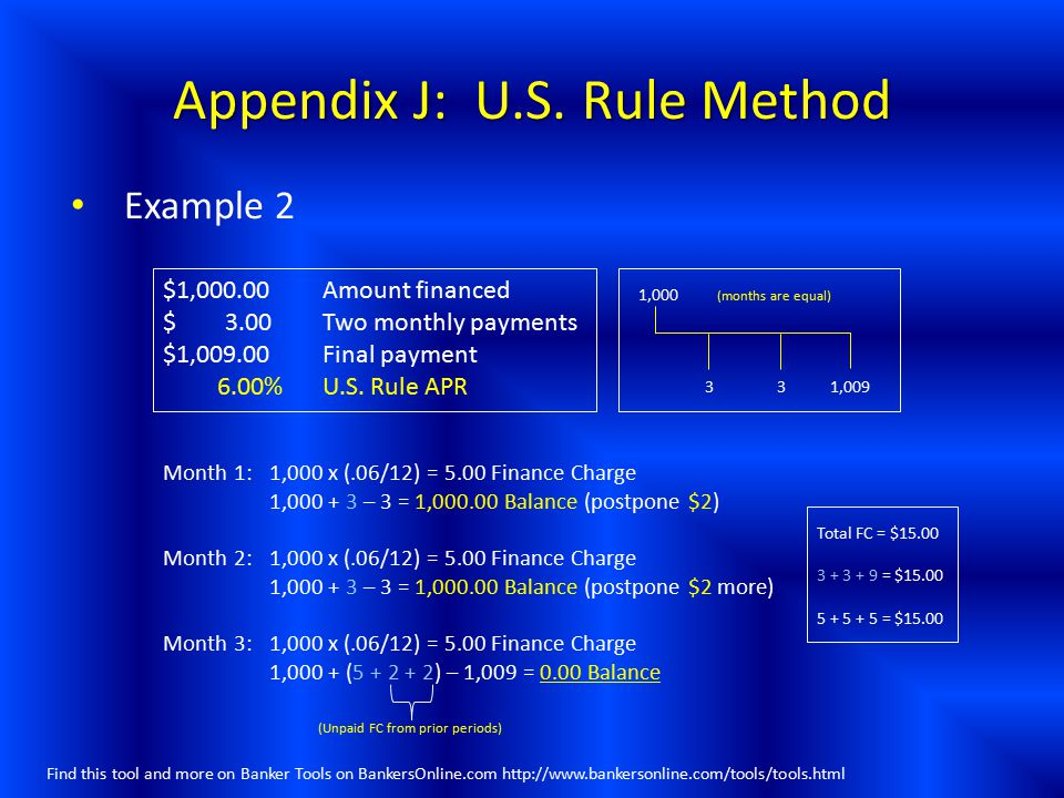 Appendix J: U.S. Rule Method