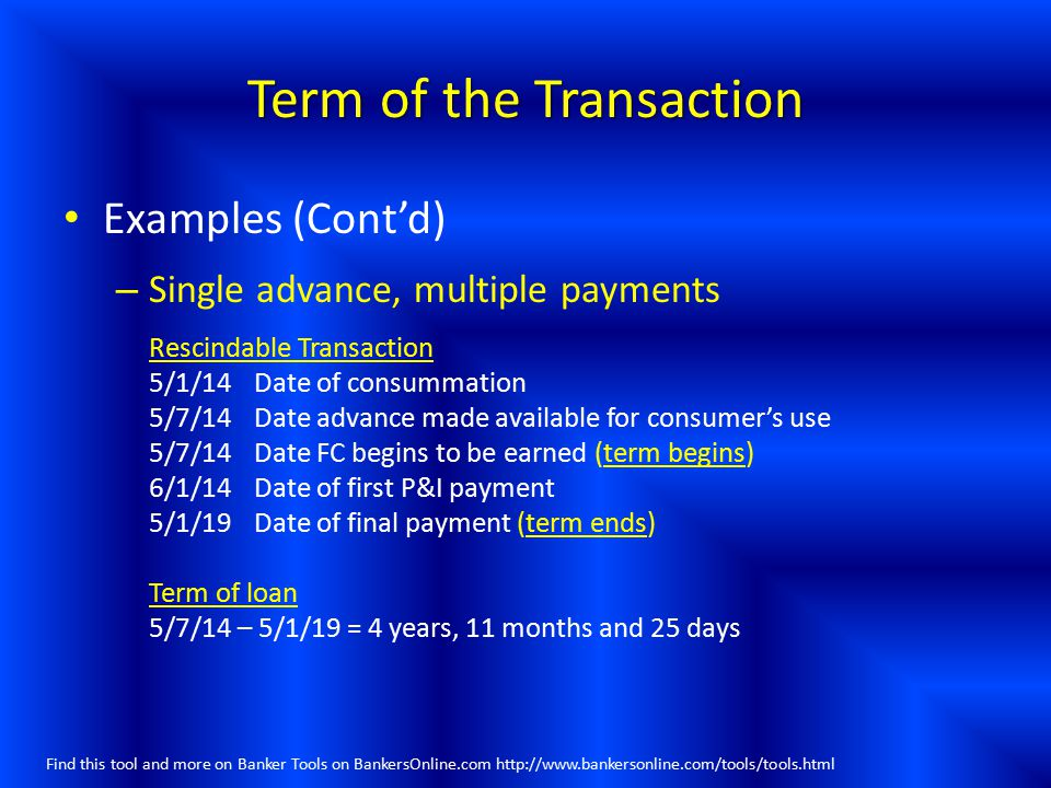 Term of the Transaction