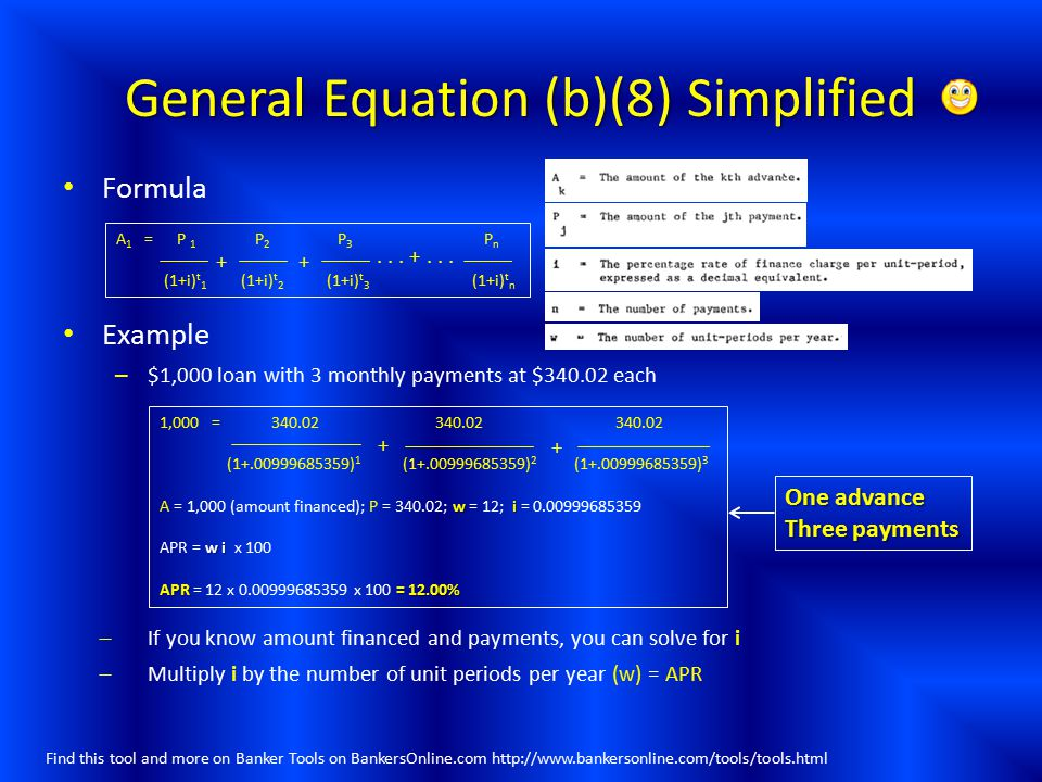 General Equation (b)(8) Simplified
