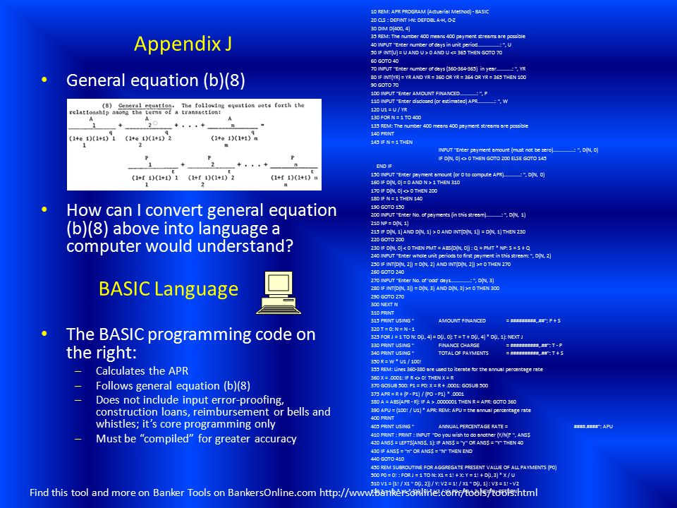 Appendix J BASIC Language General equation (b)(8)