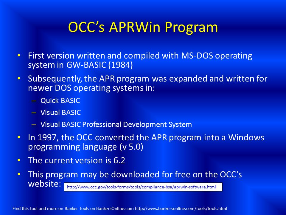OCC's APRWin Program First version written and compiled with MS-DOS operating system in GW-BASIC (1984)