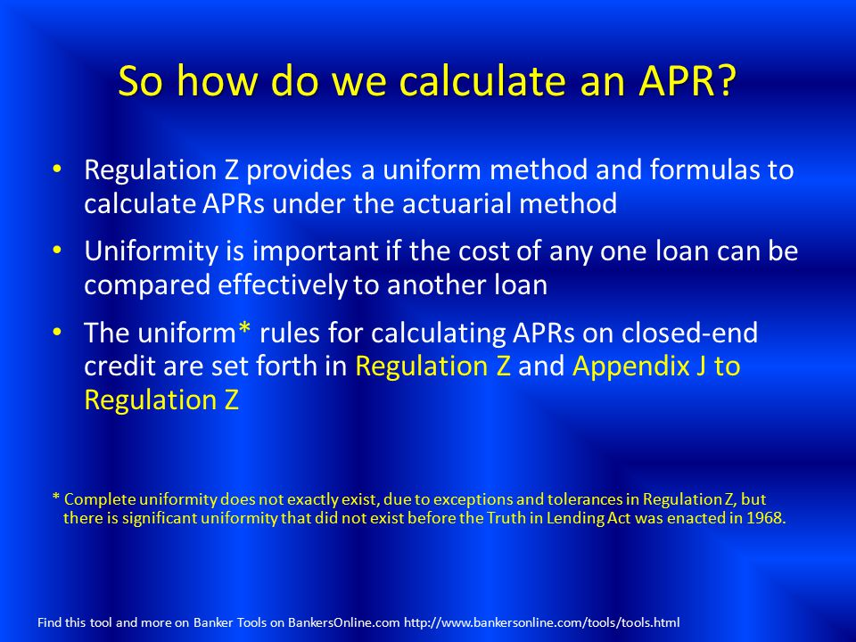 So how do we calculate an APR