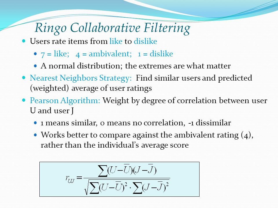 Ringo Collaborative Filtering