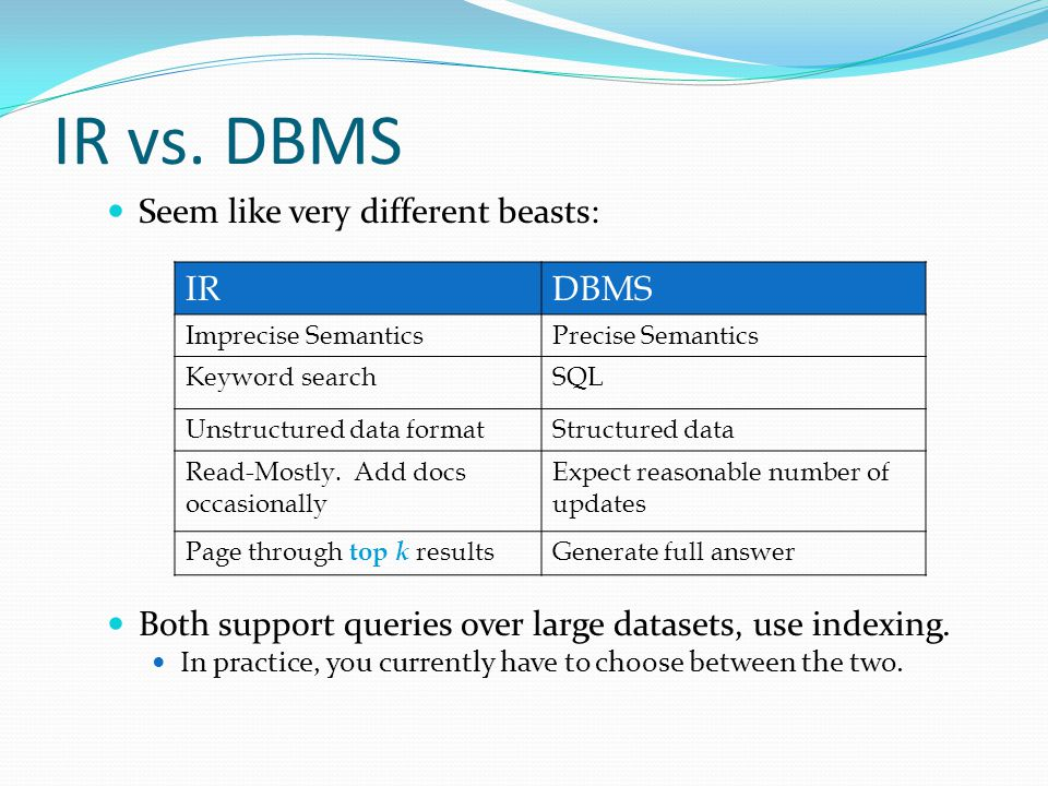 IR vs. DBMS Seem like very different beasts: