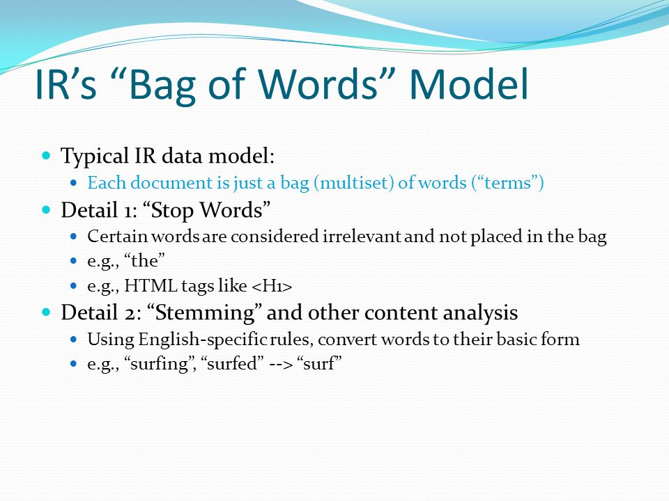 IR's Bag of Words Model