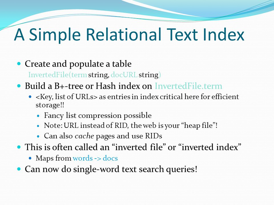 A Simple Relational Text Index