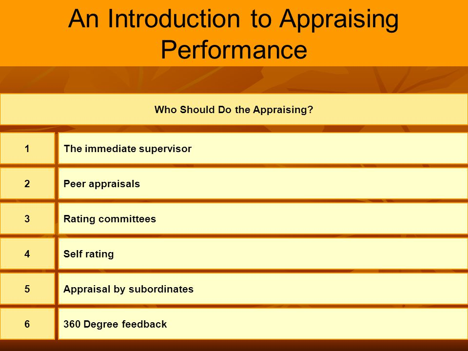 An Introduction to Appraising Performance