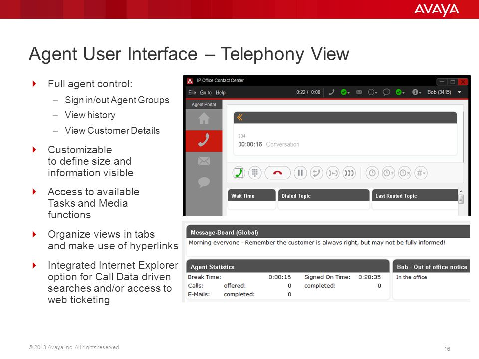 Agent User Interface – Telephony View