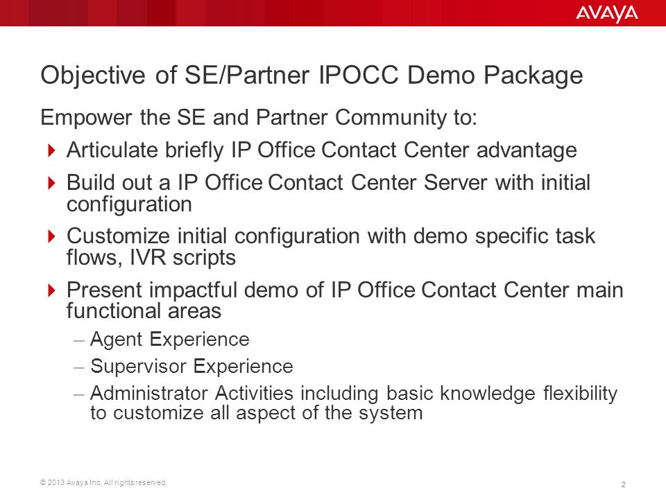 Objective of SE/Partner IPOCC Demo Package
