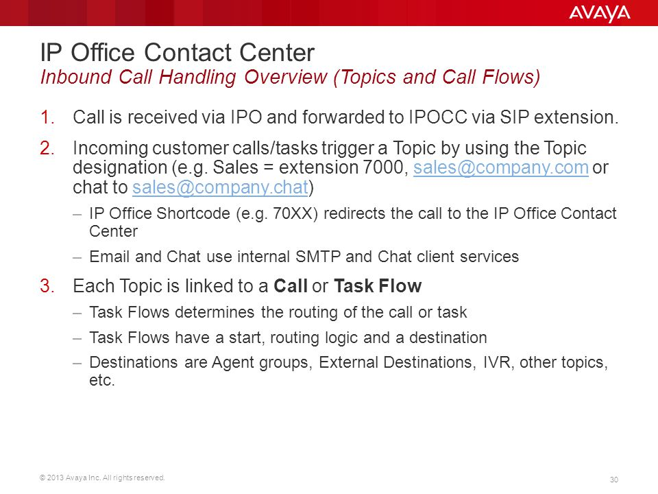 IP Office Contact Center Inbound Call Handling Overview (Topics and Call Flows)