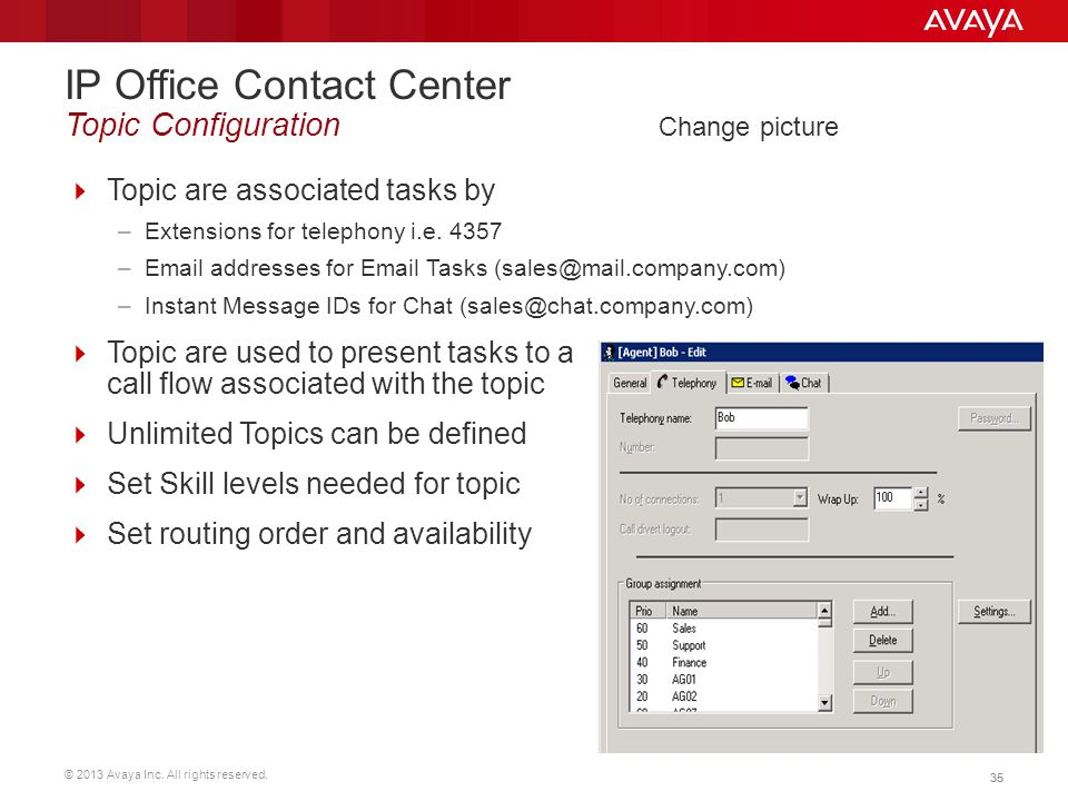 IP Office Contact Center Topic Configuration