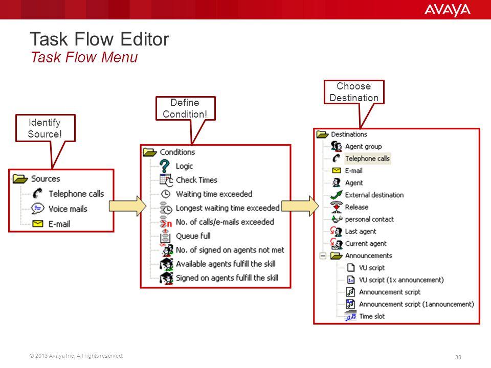 Task Flow Editor Task Flow Menu