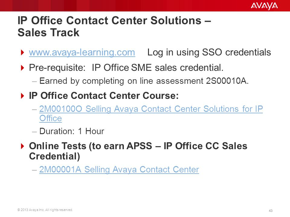 IP Office Contact Center Solutions – Sales Track
