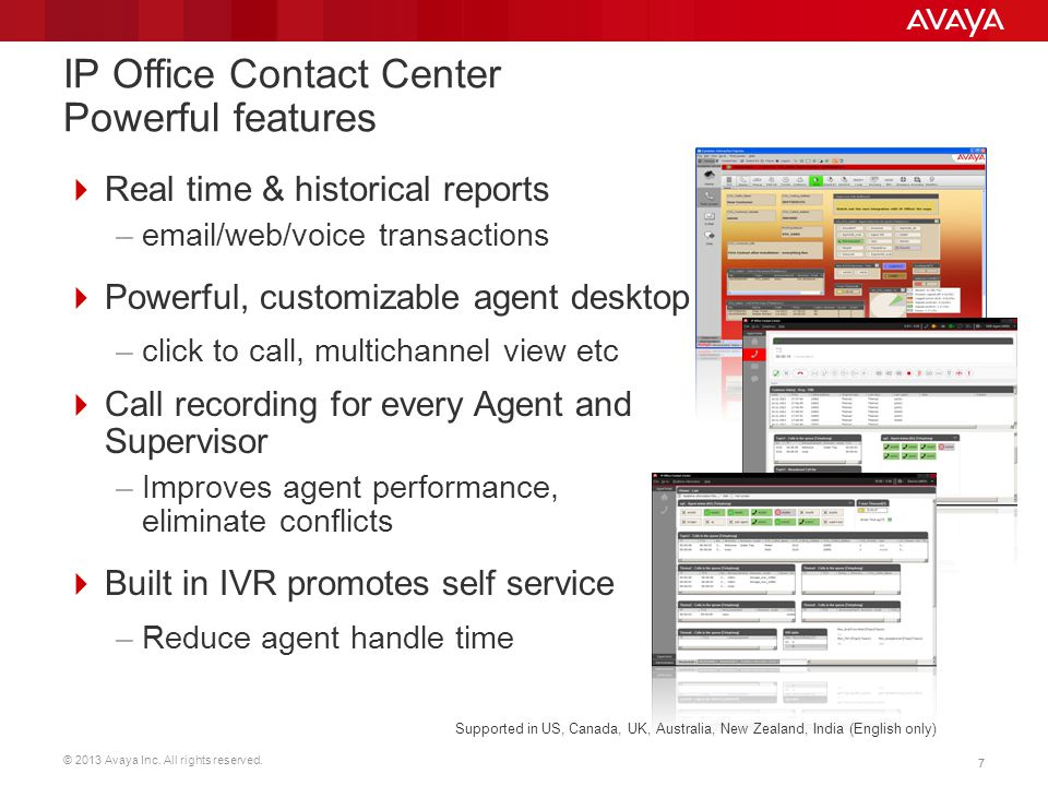 IP Office Contact Center Powerful features