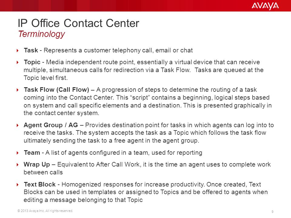 IP Office Contact Center Terminology