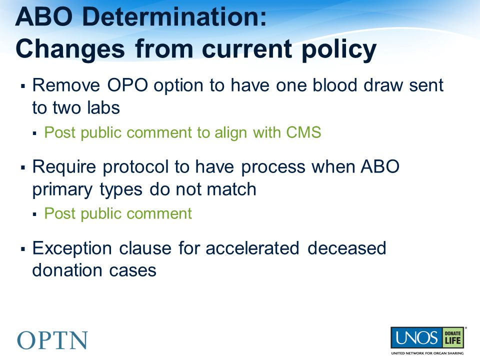 ABO Determination: Changes from current policy