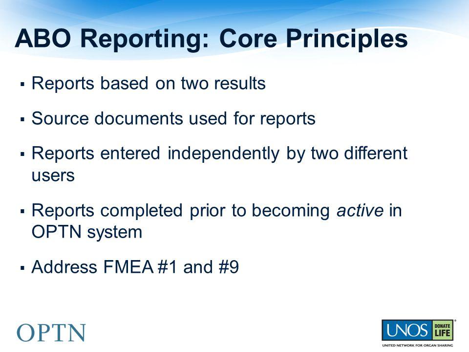 ABO Reporting: Core Principles