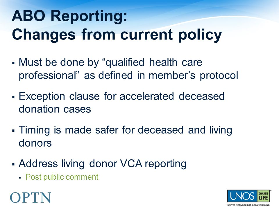 ABO Reporting: Changes from current policy