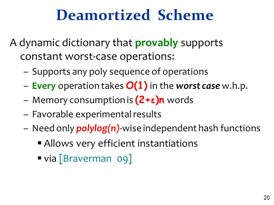 Deamortized Scheme A dynamic dictionary that provably supports constant worst-case operations: Supports any poly sequence of operations.