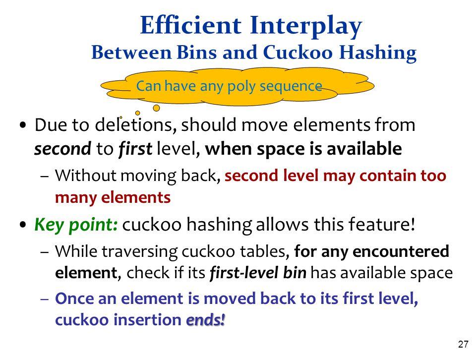 Efficient Interplay Between Bins and Cuckoo Hashing
