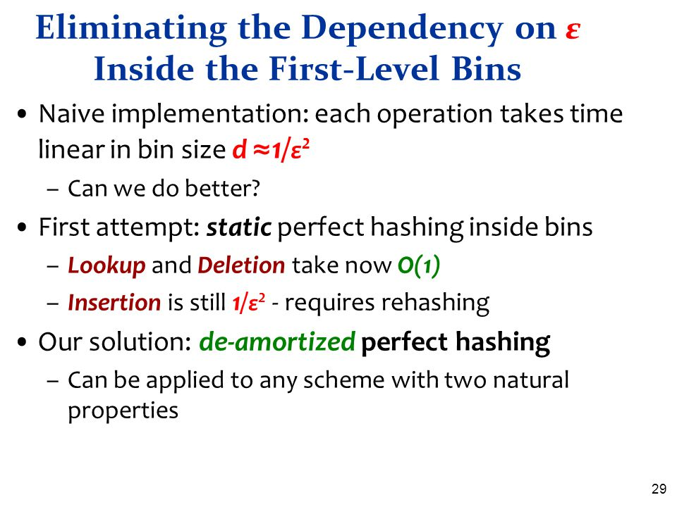 Eliminating the Dependency on ε Inside the First-Level Bins
