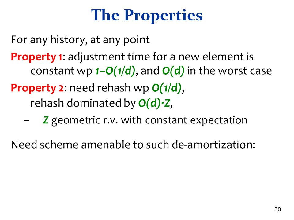The Properties For any history, at any point