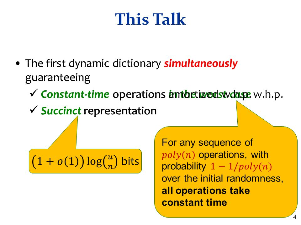 This Talk The first dynamic dictionary simultaneously guaranteeing