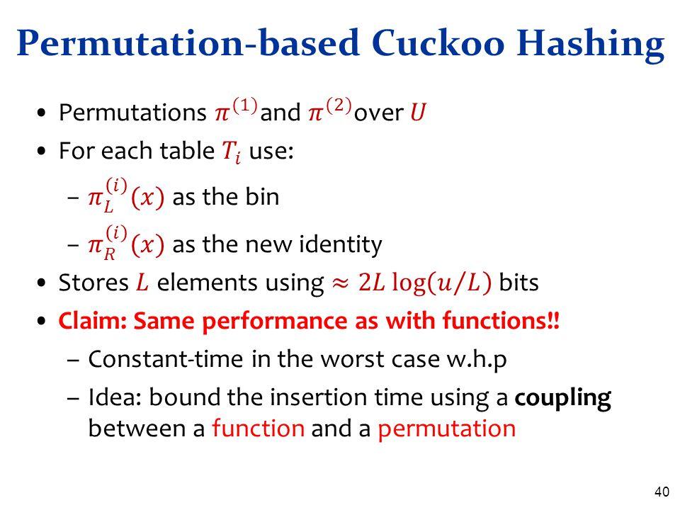 Permutation-based Cuckoo Hashing