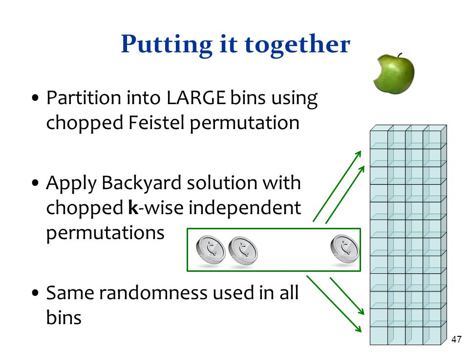 Putting it together Partition into LARGE bins using chopped Feistel permutation.