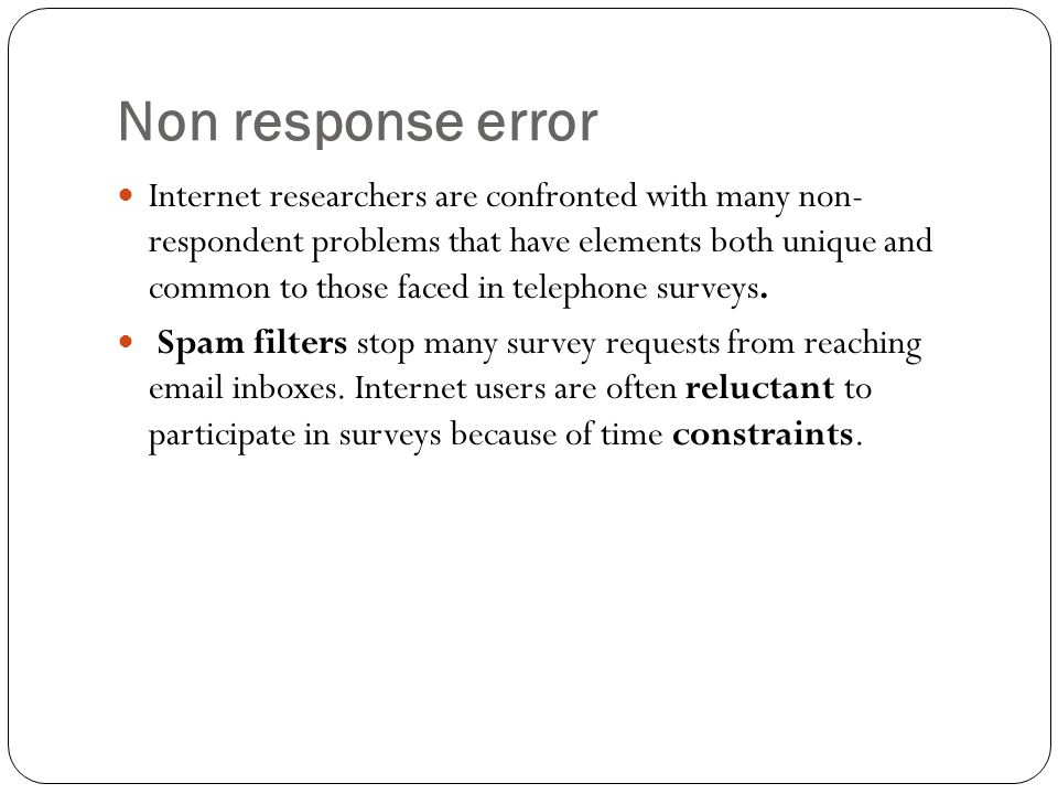 Non response error