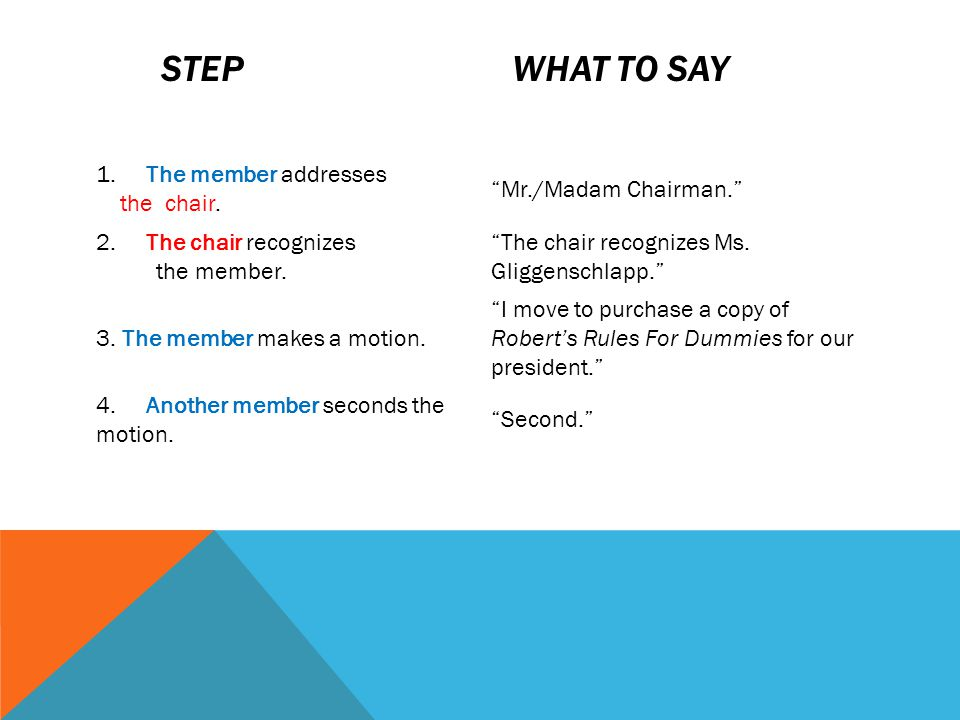 Step What to say 1. The member addresses the chair.