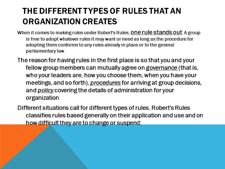 The Different Types of Rules that an Organization Creates