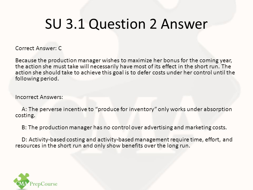 SU 3.1 Question 2 Answer