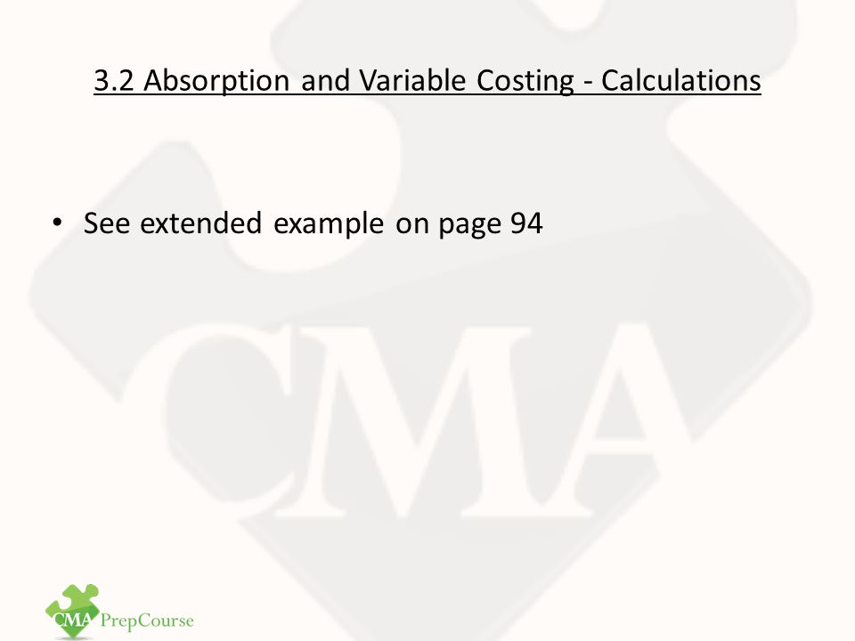 3.2 Absorption and Variable Costing - Calculations