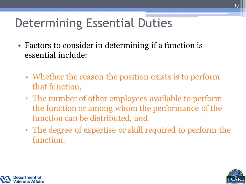 Determining Essential Duties