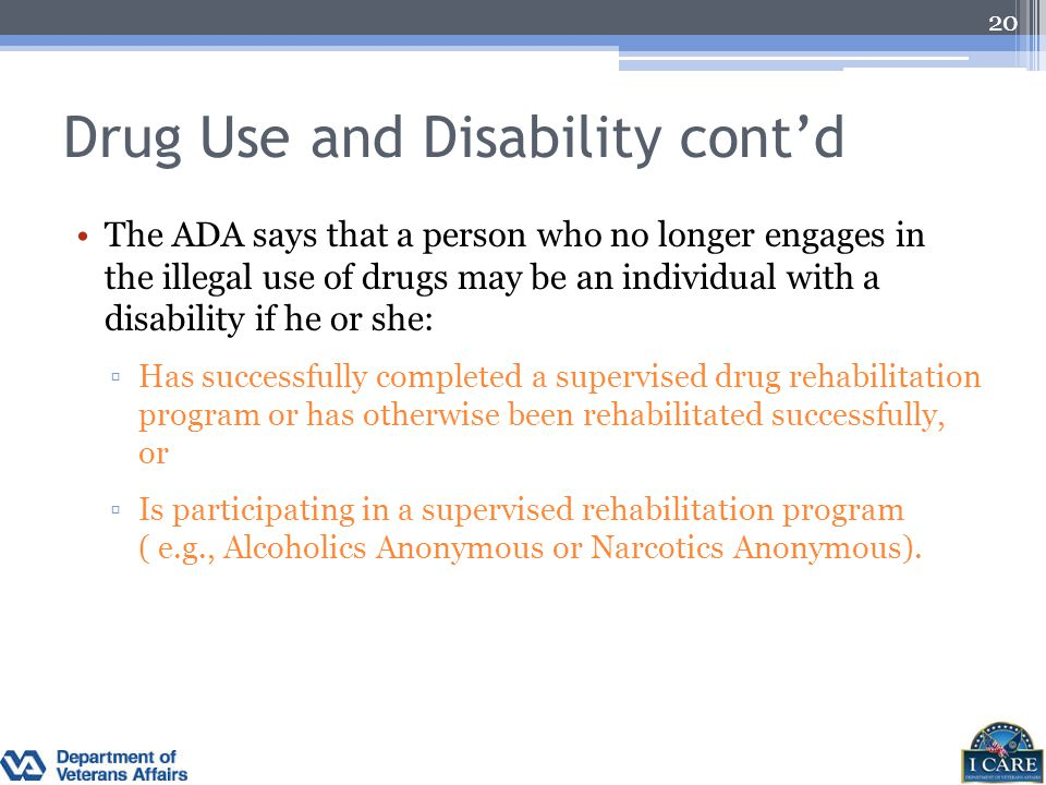 Drug Use and Disability cont'd