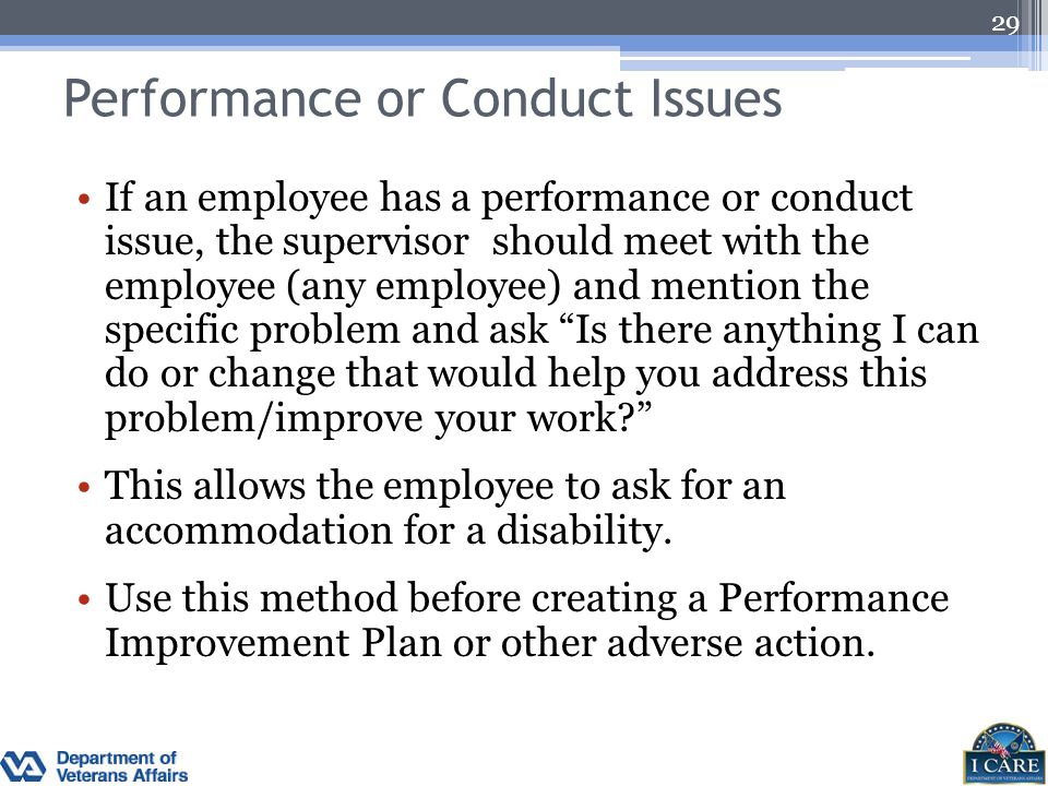 Performance or Conduct Issues