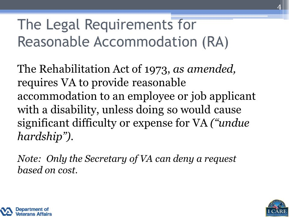 The Legal Requirements for Reasonable Accommodation (RA)