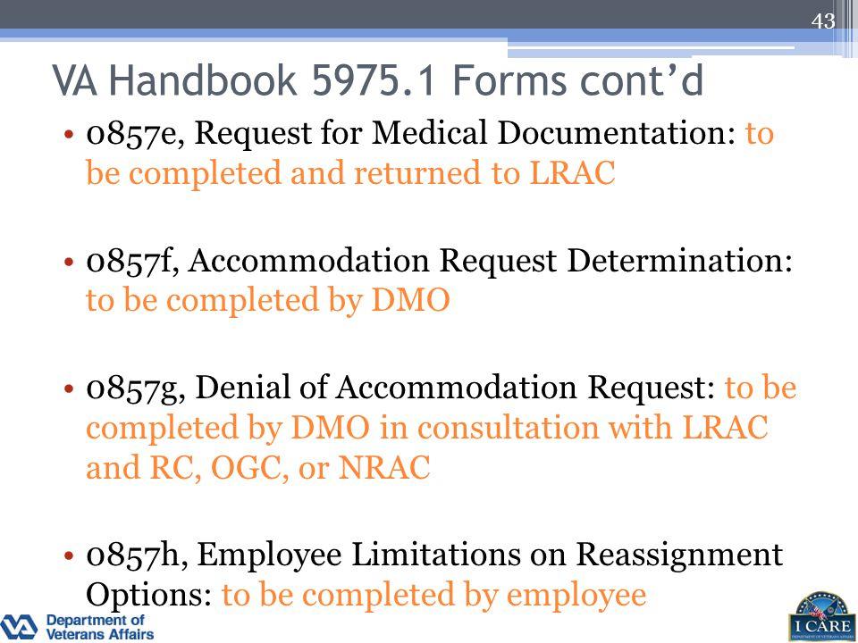 VA Handbook 5975.1 Forms cont'd