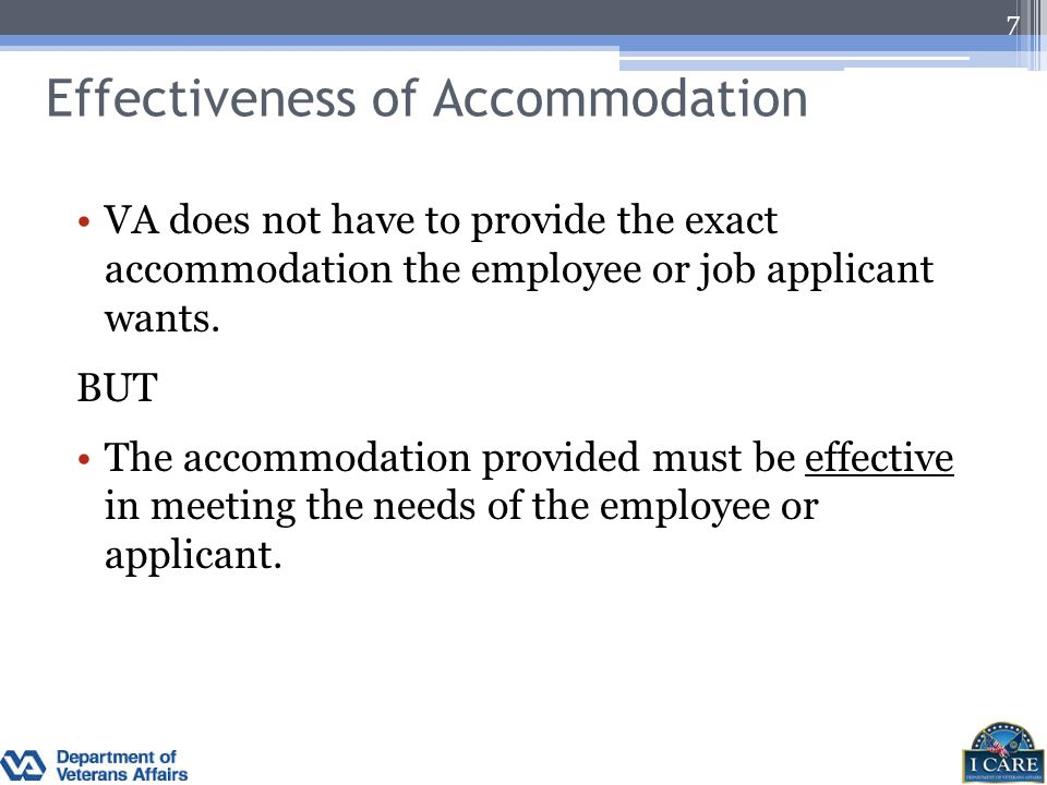 Effectiveness of Accommodation