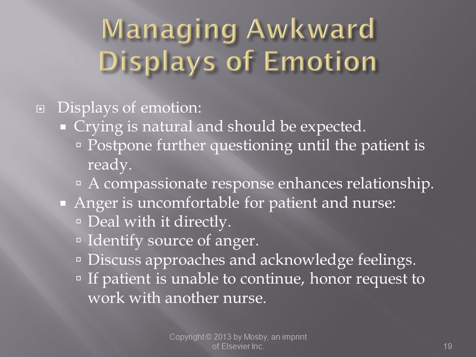 Managing Awkward Displays of Emotion