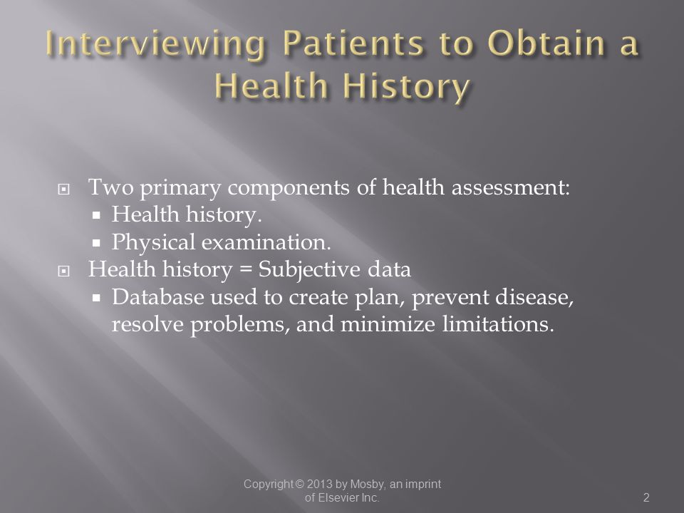 Interviewing Patients to Obtain a Health History