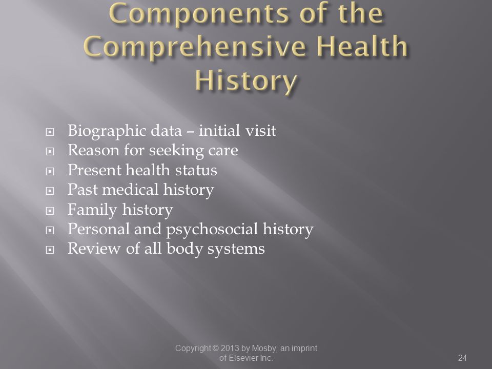 Components of the Comprehensive Health History