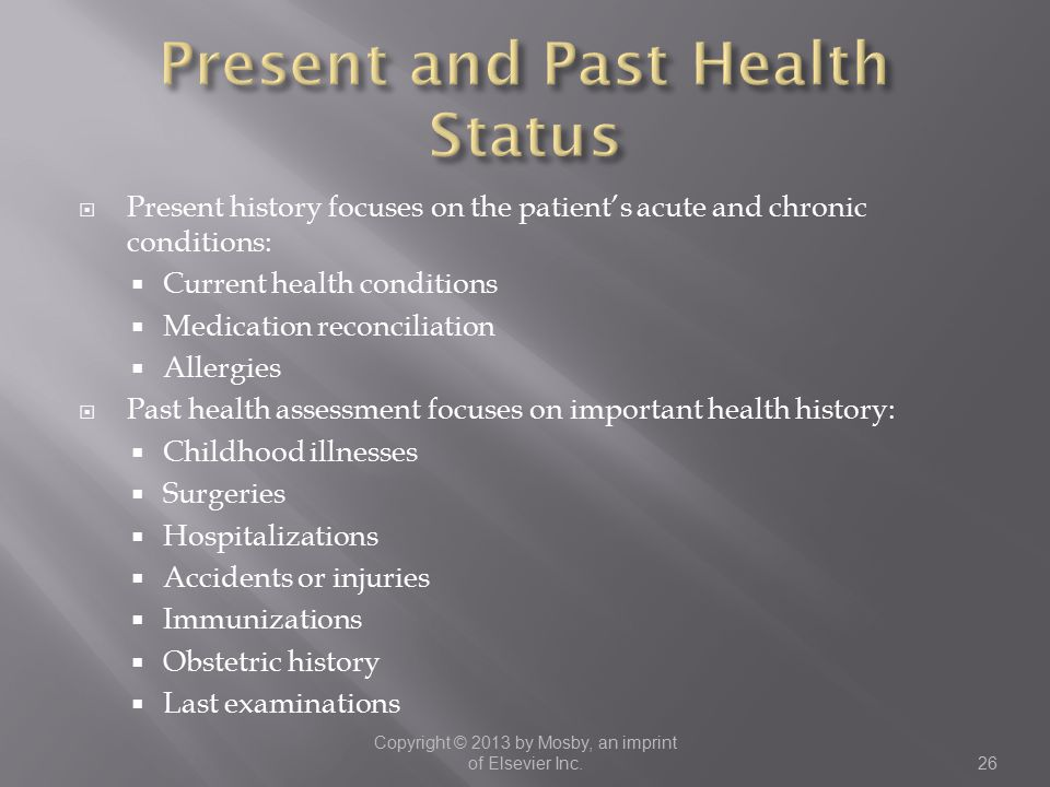 Present and Past Health Status