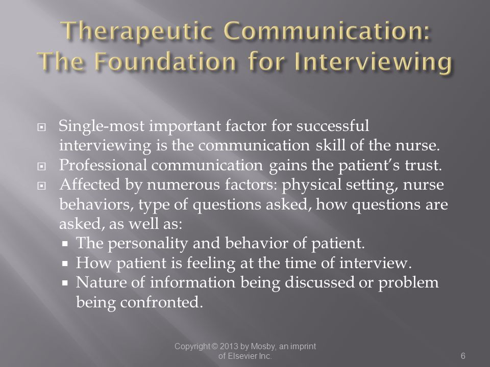 Therapeutic Communication: The Foundation for Interviewing