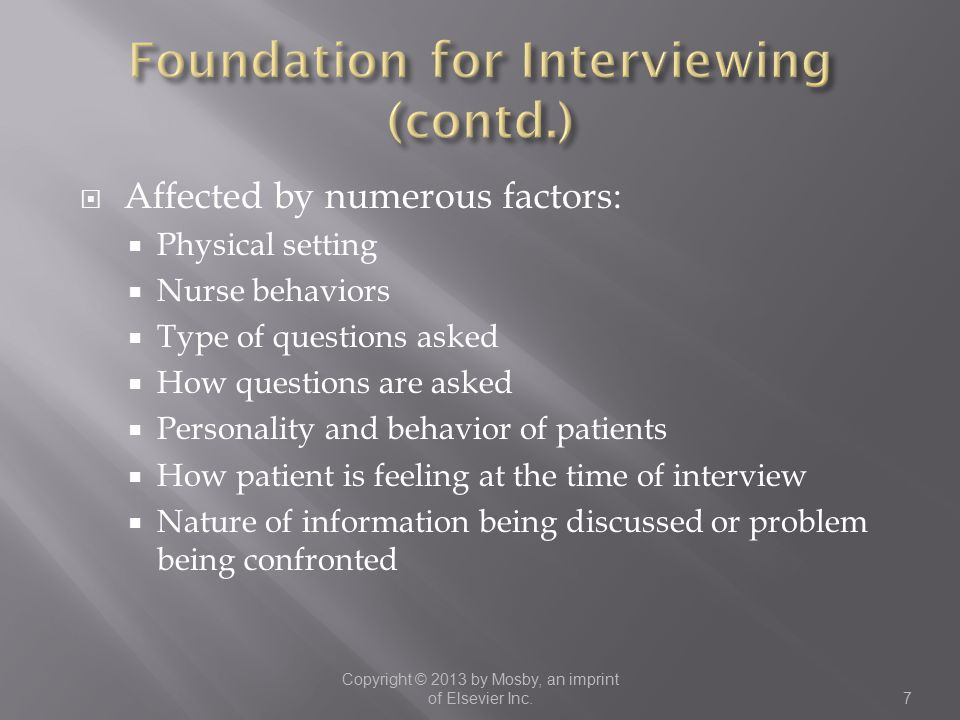 Foundation for Interviewing (contd.)