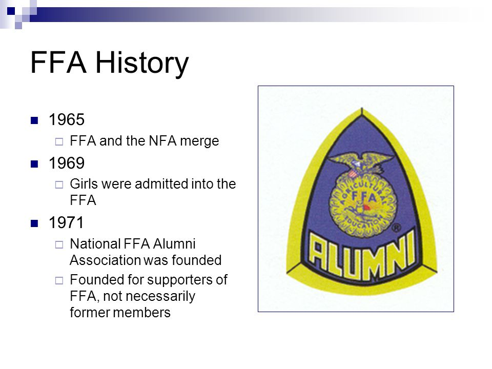 FFA History 1965 1969 1971 FFA and the NFA merge
