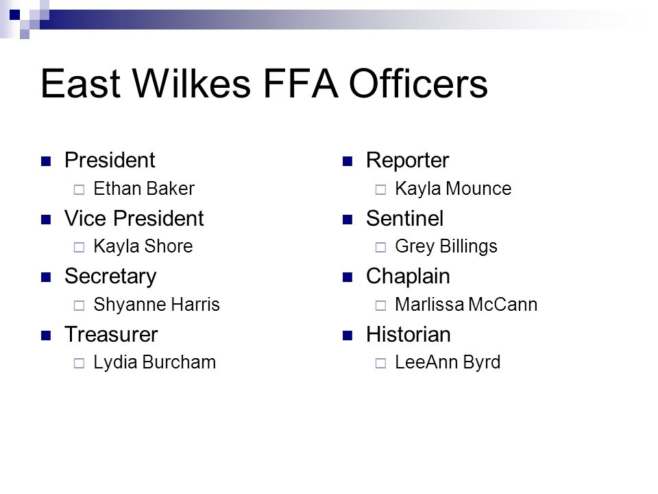 East Wilkes FFA Officers