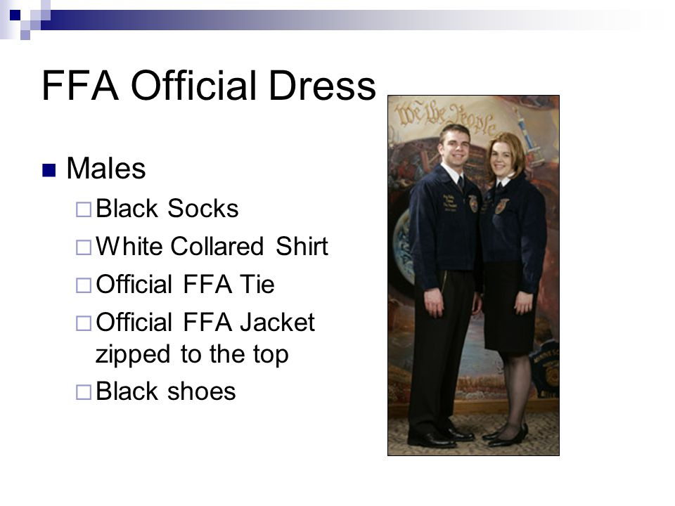 FFA Official Dress Males Black Socks White Collared Shirt
